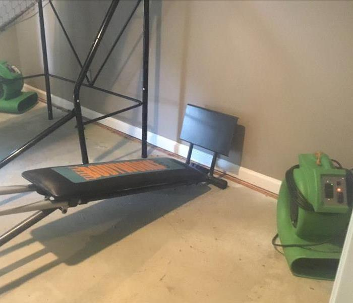 Carpet removed under equipment